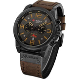Military Watches for Men Men's Leather Strap Analog Quartz Wristwatch