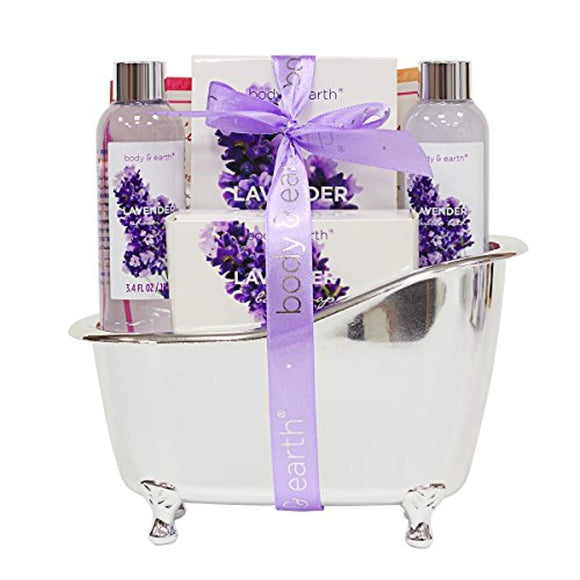 Bath Spa Gift Basket for Women, Body & Earth Lavender Scented 4 Pcs