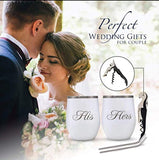 His and Hers Wine Tumbler Wedding Gifts for the Couple - Double Insulated Coffee Cups and Stainless Steel Straws Set