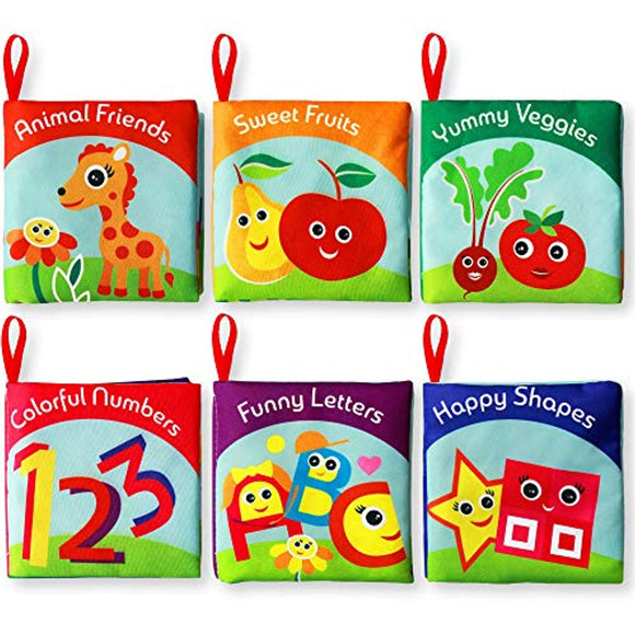 Cloth Books for Babies (Set of 6) - Premium Quality Soft Books for Toddlers. Touch and Feel Crinkle Paper.