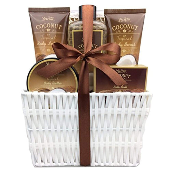 Spa Gift Basket and Bath Set with Refreshing Coconut Fragrance, by Lovestee-Bath and Body Gift Set,
