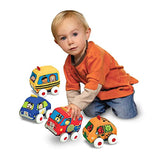 Melissa & Doug Pull-Back Vehicles, Soft Baby and Toddler Toy Set (4 Cars and Trucks and Carrying Case)