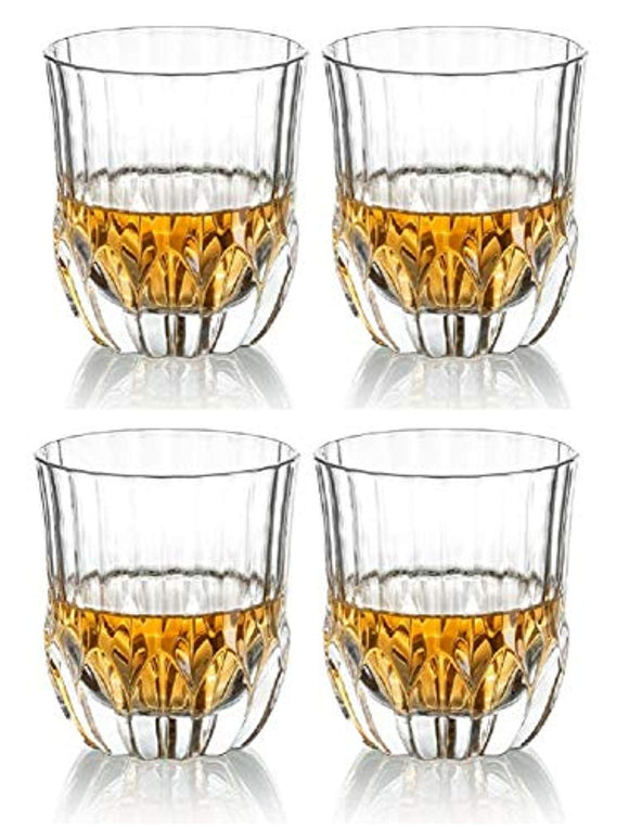 Le'raze Posh Crystal Whiskey glasses [Set of 6] Double Old Fashioned Glasses