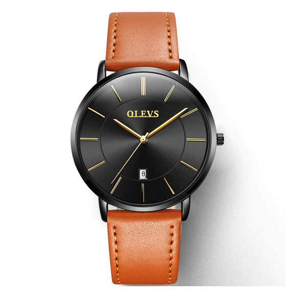 OLEVS Men's Ultra Thin Fashion Minimalist Wrist Watches and Luxury Leather Watches