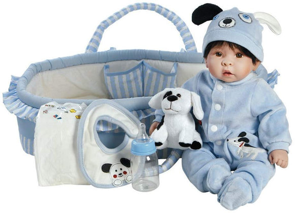 Paradise Galleries Reborn Baby Boy Doll Finn & Sparky, 9-Piece Gift Set,