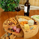 Picnic at Ascot Patented Bamboo Cheese/Charcuterie Board with Cheese Knife Set