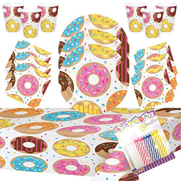 Donut Theme Party Supplies Pack (Serves-16) Dinner Plates,
