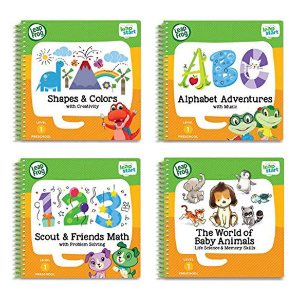 LeapFrog LeapStart Preschool 4-in-1 Activity Book Bundle with ABC, Shapes & Colors