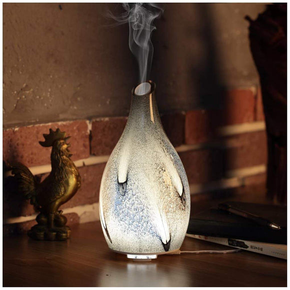 Ellestfun Essential Oil Diffuser 120ml, Handmade Glass Art Cloud Pattern