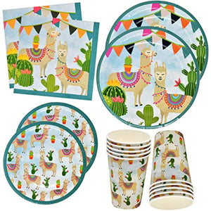 "Llama Cactus Party Supplies Set 24 9"" Plates 24 7"" Plates 24 9 Oz Cups 50 Lunch Napkins"