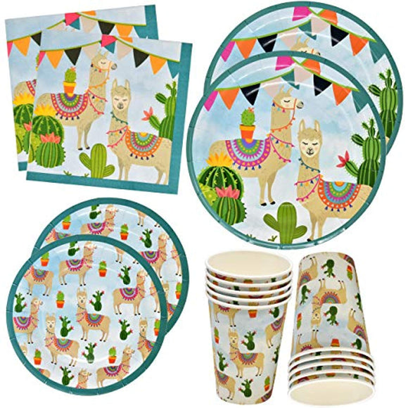 Llama Cactus Party Supplies Set 24 9