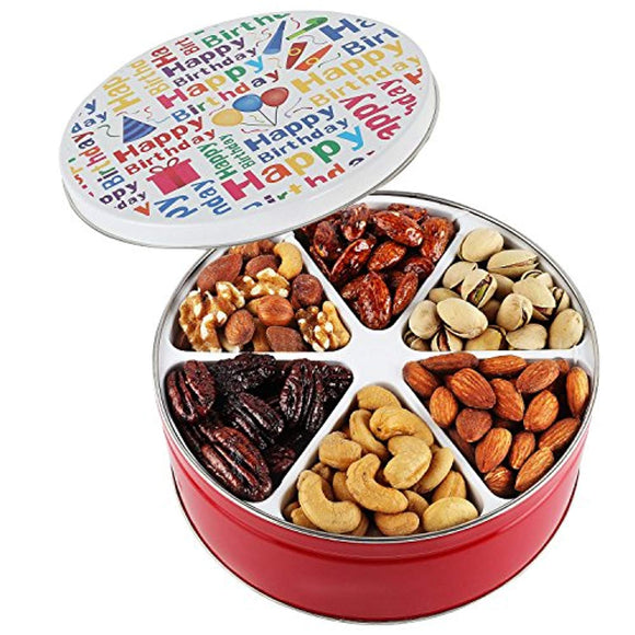 Happy birthday nuts gift basket Tin Six Sectional filled with Assorted Freshly Roasted Nuts about 1.25 pounds