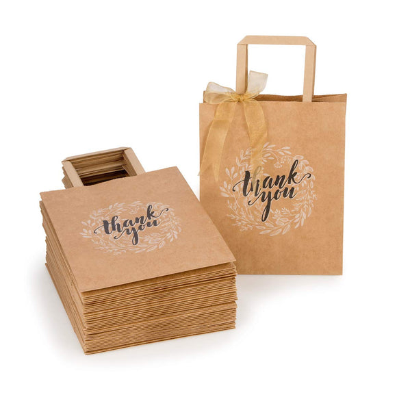 "Thank-You Gift Bags Bulk with Handles (NO Bow/Ribbon) 50 Count, Medium 8""x4.75""x10"
