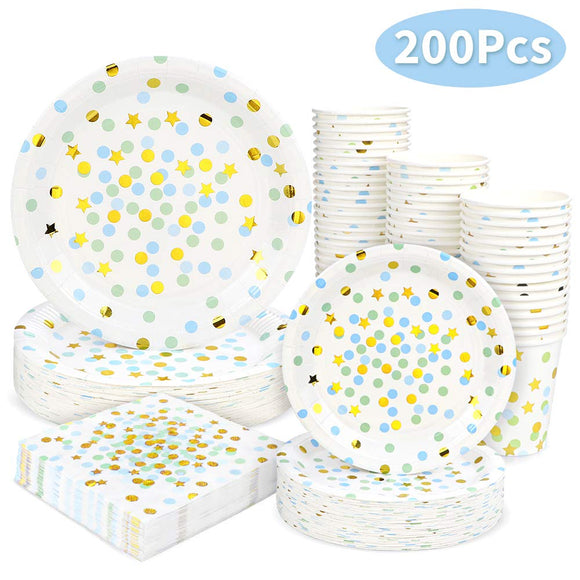 Black and Gold Dot Party Supplies - 200PCS Disposable Black Paper Plates Dinnerware