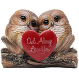 Romantic Owl Always Love You Figurine with Red Heart and Two Decorative Owls