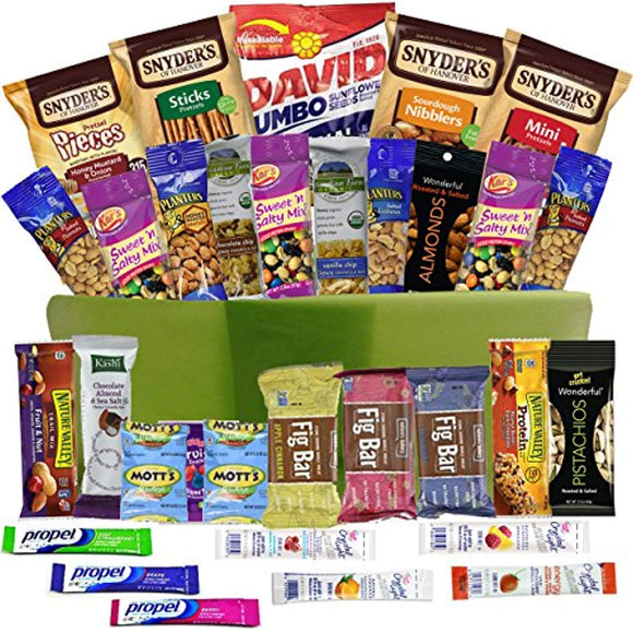 Healthy Snacks Gift Basket Care Package - 32 Health Food Snacking Choices