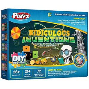 Playz Ridiculous Inventions Science Kits for Kids - Energy, Electricity & Magnetic Experiments Set
