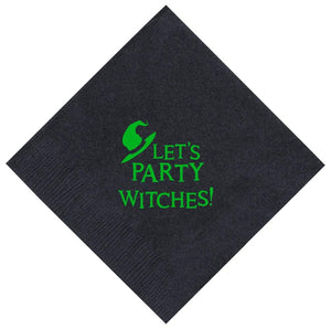 "Witch Halloween Party Supplies Let's Party Witches 50 Pack 5x5"" Party Napkins Cocktail Napkins Black"