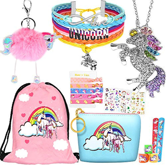 8 pcs Unicorn Gifts for Girls Teen Necklace Bracelet Jewelry Hair Ties