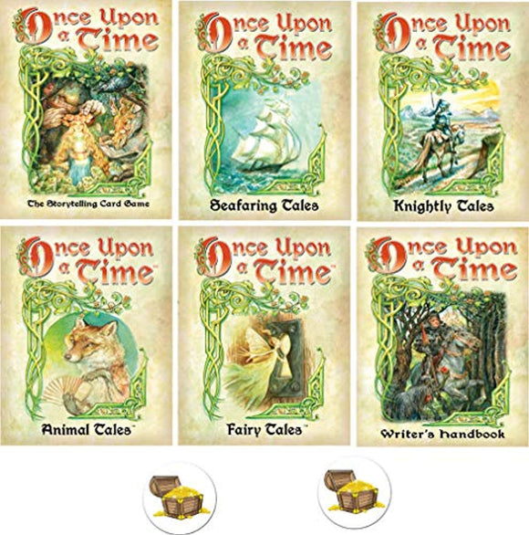 Once Upon A Time Card Game Bundle with Base Game and 5 Expansions Plus 2 Treasure Chest Buttons