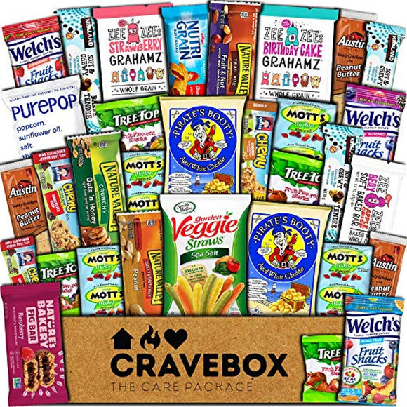 CraveBox Healthy Care Package (30 Count) Natural Bars Nuts Fruit Health Nutritious Snacks Variety Gift Box