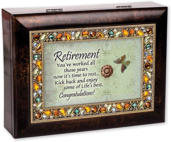 Retirement Burlwood Finish Jeweled Lid Jewelry Music Box Plays Tune What a Wonderful World