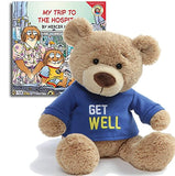 "Gifts Made with Love Get Well Teddy Bear Plush(Blue), 12.5"" My Trip to the Hospital Book, The Perfect Feel Better Set"