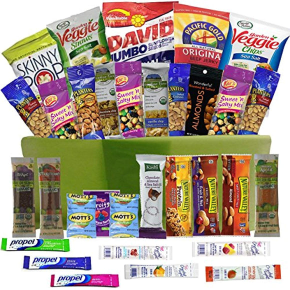 Healthy Snacks Care Package Gift Basket- 32 Health Food Snacking Choices