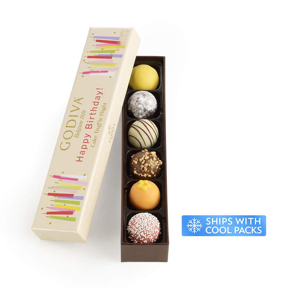 Godiva Chocolatier Happy Birthday Cake Chocolate Truffle Flight, Great for any gift,  6 Count