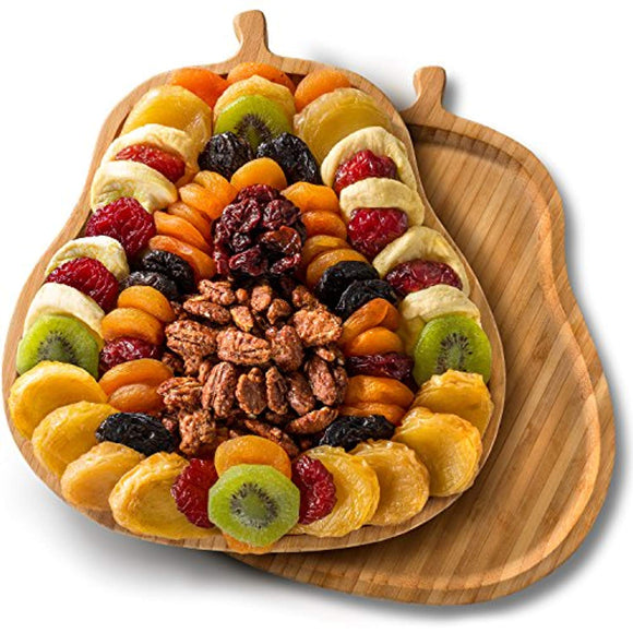 Dried Fruit Tray with Nuts on Pear Shaped Bamboo Cutting Board