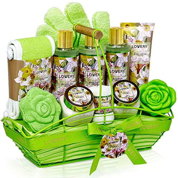 Bath and Body Gift Basket For Women & Men – Magnolia and Jasmine Home Spa Set - 13 Piece Set