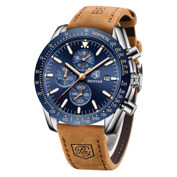 BENYAR Mens Stainless Steel Waterproof Chronograph Analog Watch Luxury Business Dress Watch Perfect for Birthday Gift