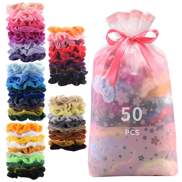 50 Pcs Premium Velvet Hair Scrunchies Hair Bands Scrunchy Hair Ties Ropes