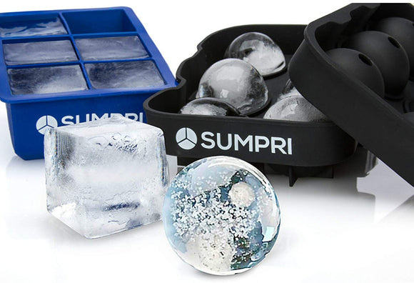 SUMPRI Sphere Ice Mold & Big Ice Cube Trays Novelty-Silicone Ice Ball Maker