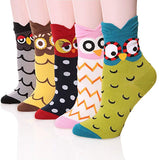 Womens Casual Socks - Cute Crazy Lovely Animal Cats Dogs Owls Art Pattern Good for Gift
