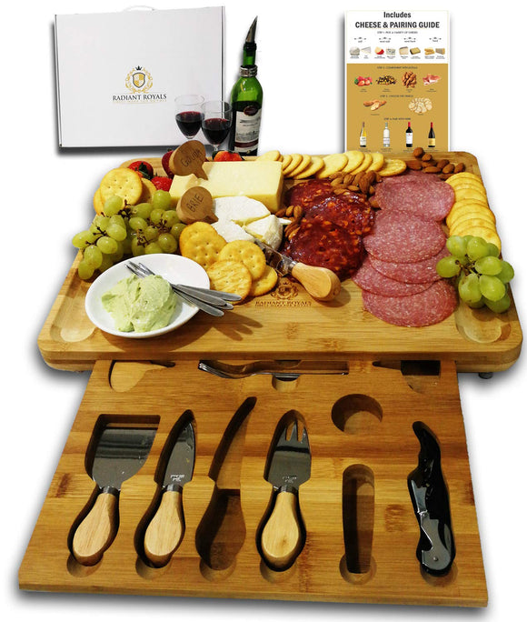 Extra Large Cheese Plate Board with Hidden Magnetic Drawer holding Cheese Knives, Serving Forks, Markers and Wine Accessories