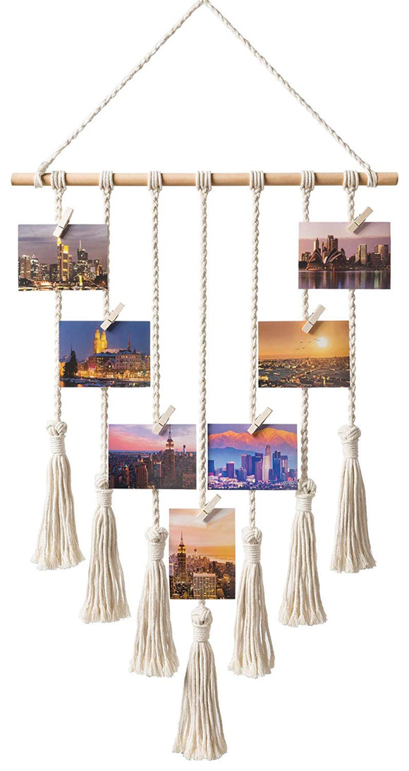 Mkono Hanging Photo Display Macrame Wall Hanging Pictures Organizer Boho Home Decor