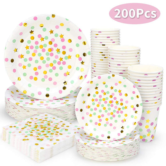 Black and Gold Dot Party Supplies - 200PCS Disposable Black Paper Plates
