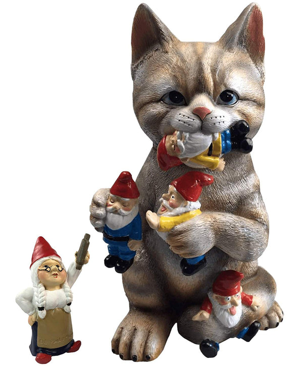 by Mark & Margot - Mischievous Cat Garden Gnome Statue Figurine