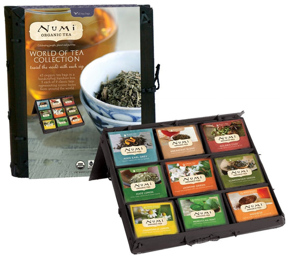 Numi Organic Tea World of Tea Variety Gift Set, 45 Black, Green, Mate & Herbal Tea Bags
