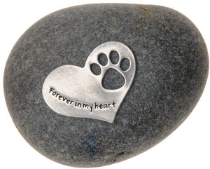 Quotable Cuffs Pet Memorial Forever in My Heart Paw Print Stone for Dogs or Cats