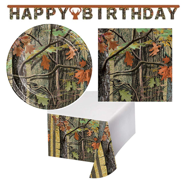 Olive Occasions Hunting Camouflage Happy Birthday Disposable Paper Party Supplies Serves 16 Cake Plates, Lunch Napkins, Table Cover and Banner
