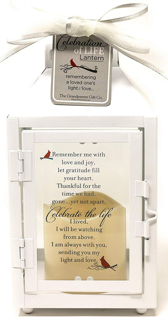 Celebration of Life Memorial Lantern with Flickering LED Candle