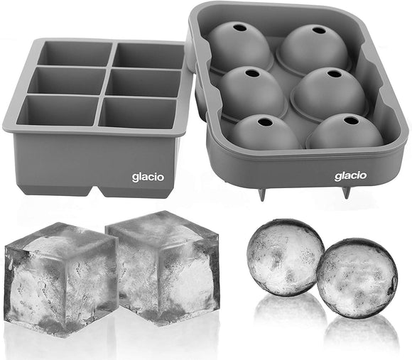 glacio Ice Cube Trays Silicone Combo Ice Molds (Gray) - Set of 2, Sphere Ice Ball Maker with Lid