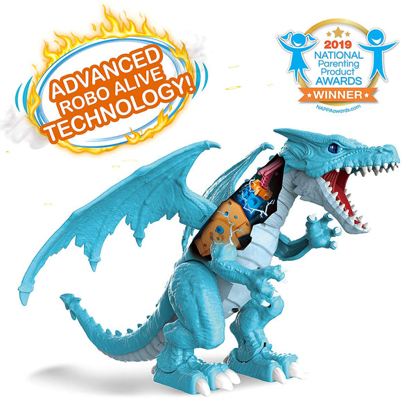 ROBO ALIVE Ferocious Dragon Battery-Powered Robotic Toy (Ice Blue) by ZURU
