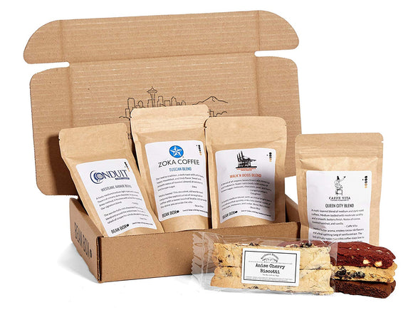 Bean Box Coffee and Biscotti Cookie Gift Boxes (Whole Bean, Deluxe)