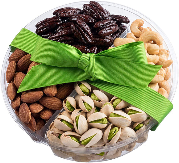 Holiday Nuts Gift Basket 4-Sectional Delicious Variety Mixed Nuts Gift Healthy Fresh Gift Idea