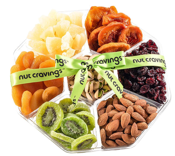 Fruit and Nuts Gift Basket Extra-Large Variety Of 7-Section Gourmet Assorted Dried Fruit tray