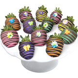 Colorful Flower Belgian Chocolate Covered Strawberries 12-piece