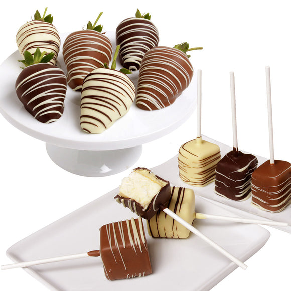 Belgian Chocolate Covered Strawberries & Cheesecake Pops, 12-piece